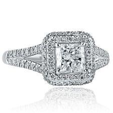 1.56Ct G-SI1 Princess Cut Diamond Engagement Ring Halo 18K White Gold Split Band