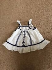 Girls White And Blue Embroided Top Age 2-3 Years