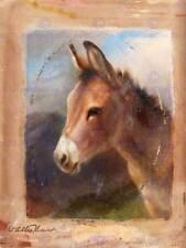 Peinture portrait d'animal hunt étude donkey 12x16'' art print poster LAH442B