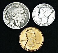 3 US Coin Lot - 1954 S Lincoln Cent Red BU, Silver Mercury Dime, Buffalo Nickel