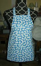 Handmade Child Size Apron - WHITE DAISIES ON BLUE