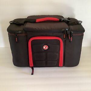 6 Six Pack Fitness Travel Fit Innovator 300 Meal Prep Bag Red Black Limited Ed