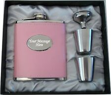 Engraved 7oz Pink Hip Flask Gift Boxed Hen Party- Do- Weekend Personalised Gift