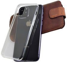 """IPHONE 11 pro 5.8 """" Leather Cover Case Protection Cover Antique Coffee+TPU Case"""