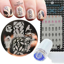 4pcs/set Feather Dreamcatcher Nail Art Set Manicure Stamp Plate Water Decals Kit