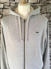 Authentique LACOSTE Homme Full Zip Hoodie Taille 5 US L Fosse à fosse 22.5 in environ 57.15 cm
