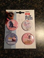 New Secret Life Of Pets Set Of 4 Buttons Chloe Gidget Norman Mel