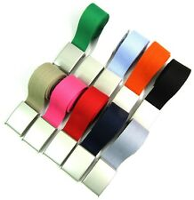 """Unisex Quality New Cotton Fabric Plain Webbing Canvas Belt Silver Buckle To 38"""""""