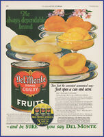 Vintage 1923 DEL MONTE Canned Fruits Peaches Pears Kitchen Décor 20's Print Ad