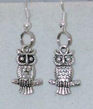 Silvertone Charm Earrings OWL ON A BRANCH 20 mm  Handmade in USA
