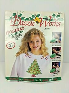 1992 Vintage BUCILLA DAZZLE WORKS KIT Tacky Christmas Sweater Christmas Tree