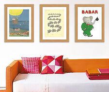 Delizioso Babar il elefante Collezione di 3 A3 Raso riproduzione Stampa poster
