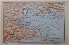 Stampa antica Mappa Liguria Lerici Spezia Le Grazie Portovenere Palmaria 1899