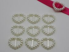 200 Ivory Pearl Heart Buckle Invitation Ribbon Slider 17X14mm For Wedding