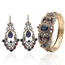 Blue Stone Islamic Vintage Crystal Women's Turkish Bracelet Earrings Sets Bangle