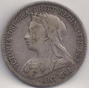 1896 Silver Victoria Great Britain Shilling Fine TMM*