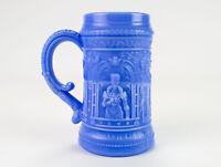 "McKee Serenade Blue Milk Glass Mug, Antique EAPG c1900 Troubadour Stein 4 5/8"""