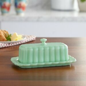Pioneer Woman Timeless Beauty Jade Butter Dish green glass ribbed scalloped NWT