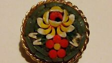 Lovely 22ct Gold Plated Italian Millefiori Glass Micro Mosaic Round Brooch*****