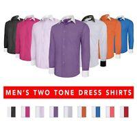 Berlioni Men's Button-Front Two Tone French Convertible Cuff Dress Shirt