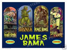 JAMES BAMA AURORA MODEL BOX ART PRINT # 2 GODZILLA KONG HUNCHBACK JEKYLL HYDE