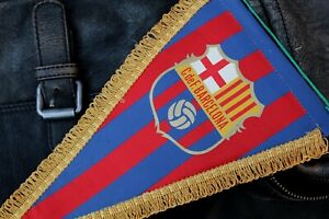 Vintage Football Pennant 1970's - C.de F. BARCELONA - Spain Flag by Margi