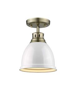 """Golden Lighting 3602-AB-BLK Duncan 1 Light 9""""W Semi-Flush Ceiling - White"""