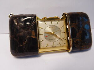 "Vintage Movado Ermeto ""Ermetophon"" Alarm Schiebe Uhr.Metall Vergoldet."