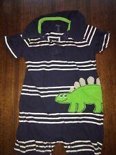 Boys 9 Months Carters Blue Striped Dinosaur Romper