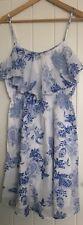 Biba Cotton Summer Dress White Blue 14