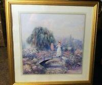 "Vintage Home Interior Woman On Bridge Painting Sign By Sambataro 22""xx22"""