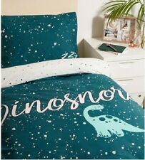 DINOSAUR dinosnore SINGLE BED DUVET COVER BEDDING green NEW LOOK - COTTON - NEW