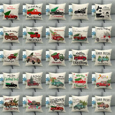 "18"" Pillow Case Cushion Cover Christmas Decor Colorful Truck Gifts New Year Tree"