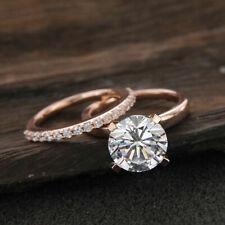 14k White Gold Round Diamond Bridal Wedding Engagement Ring Set 1.20ct