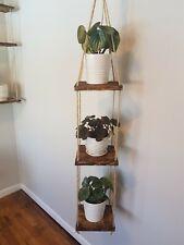Rustic 3-tier Adjustable Hanging Plant Shelves. Plants and Hangers/hooks Not...