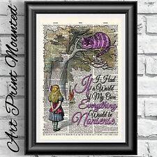 Gato de Cheshire Diccionario Impresión de Arte Vintage Alice In Wonderland montado Libro página
