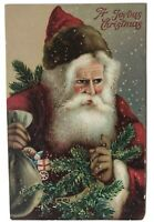SANTA CLAUS with Toys~Pine Branches~Antique Christmas Postcard-a92