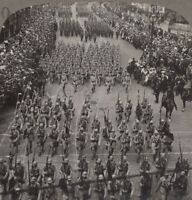 WW1. French Contingent at London's Great Peace March, July 19, 1919. Stereoview