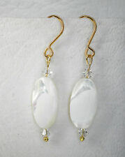 White oval shell and clear glass bead gold tone hooks Drop earrings Approx 4mm