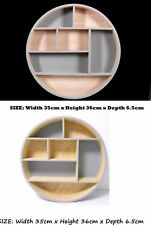 7 Compartment Craft Display Wall Cube Round Shape Display Unit Natural Wood New