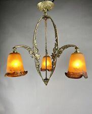 Muller Strasbourg Art Nouveau Chandelier Jugendstil Deckenlampe Lüster Leuchter