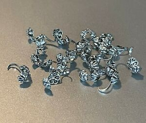 (24) Flower Crimp Bead Covers Silver - 4mm