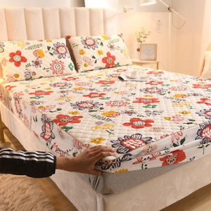100% Cotton Quilted Mattress Cover King Queen Anti Dust Mite Mattress Cover