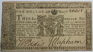 United States Maryland Colonial Currency April 10th 1774 One Dollar Note MD-66