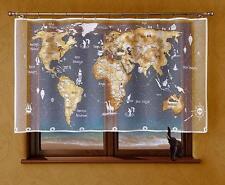UNIQUES peint enfants panneau rideau filet - Blanc Beige Carte du monde