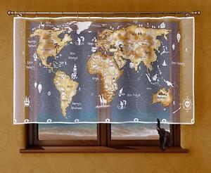 UNIQUE PAINTED CHILDREN PANEL NET CURTAIN - WHITE BEIGE WORLD MAP