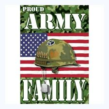 Garden Flag- New- Proud Army Family Usa Military- Double Sided Thick 100 D Poly