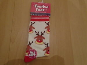 1 pair Ladies Rudolph CHRISTMAS socks, UK size 4-8, NEW with TAG, BNWT, Gift