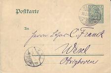 Reich Brief ( Germania Ganzsache ) Keeken > Wesel vom  16.02.1907