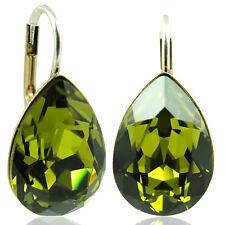 Ohrringe mit Kristallen von Swarovski® Grün Gold Olive NOBEL SCHMUCK